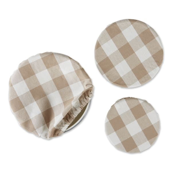 Stone Buffalo Check Woven Set of 3 Dish Covers