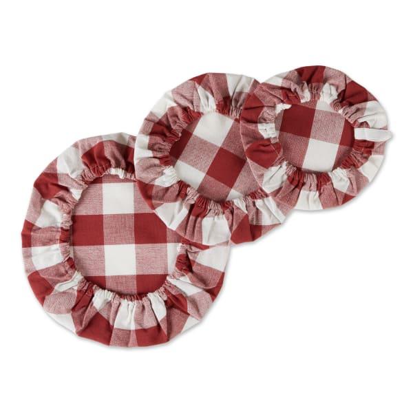 Barn Red Buffalo Check Woven Set of 3 Dish Covers