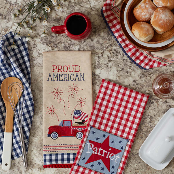 Americana Embellished Set of 4 Dishtowels