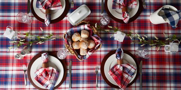 Americana Plaid Tablecloth 52x52