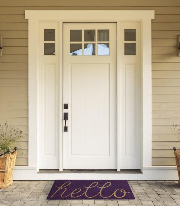 Purple Hello Doormat