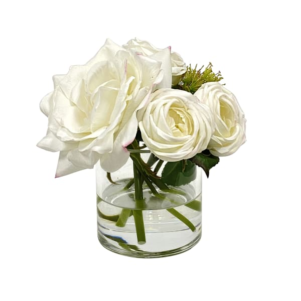 English Rose in Glass Faux Floral Arrangements
