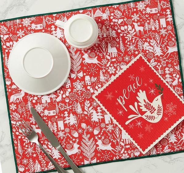 Christmas Joy Dish Drying Set of 2 Mats