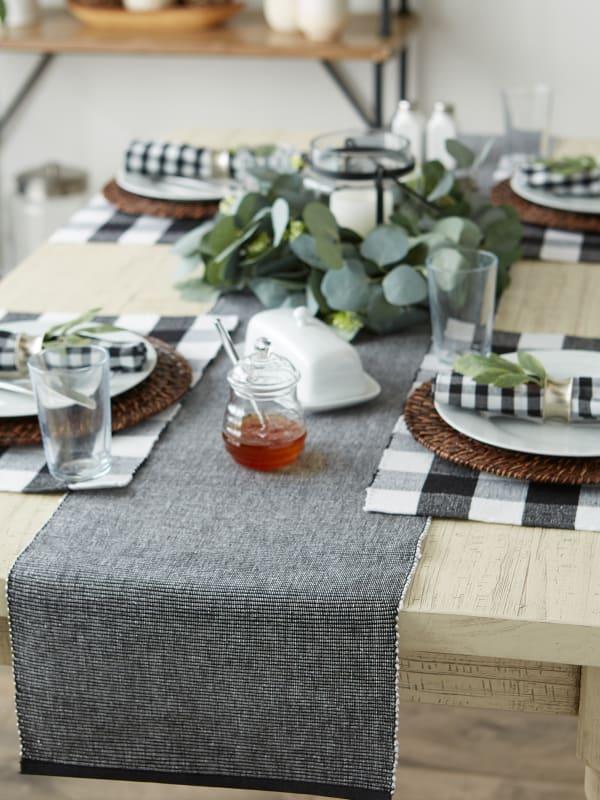 Black & White 2-Tone Ribbed Table Runner