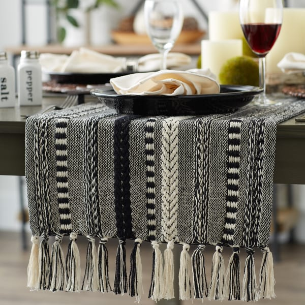 Black Braided Stripe Table Runner