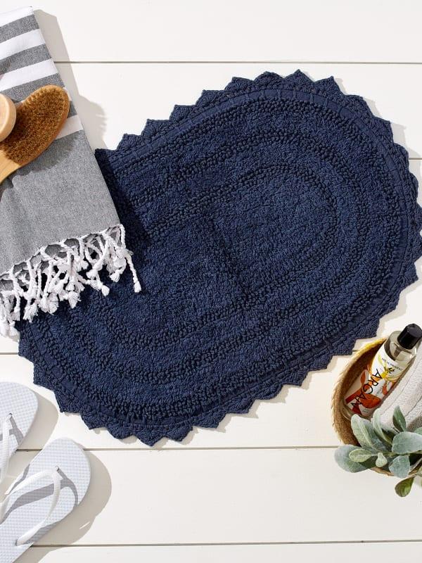 French Blue Large Oval Crochet Bath Mat