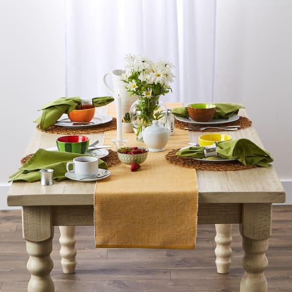 Honey Gold & White 2-Tone Ribbed Table Runner
