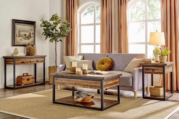 Claremont Rustic Wood End Table with Drawer and Low Shelf
