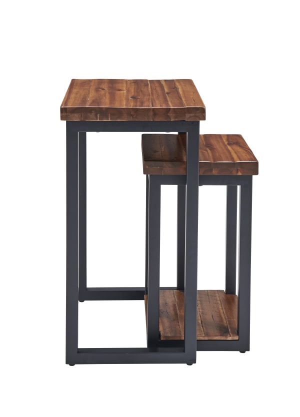 Claremont Rustic Wood Nesting End Tables Set of Two