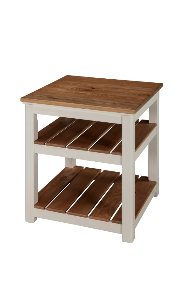 Savannah 2 Shelf End Table Ivory with Natural Wood Top