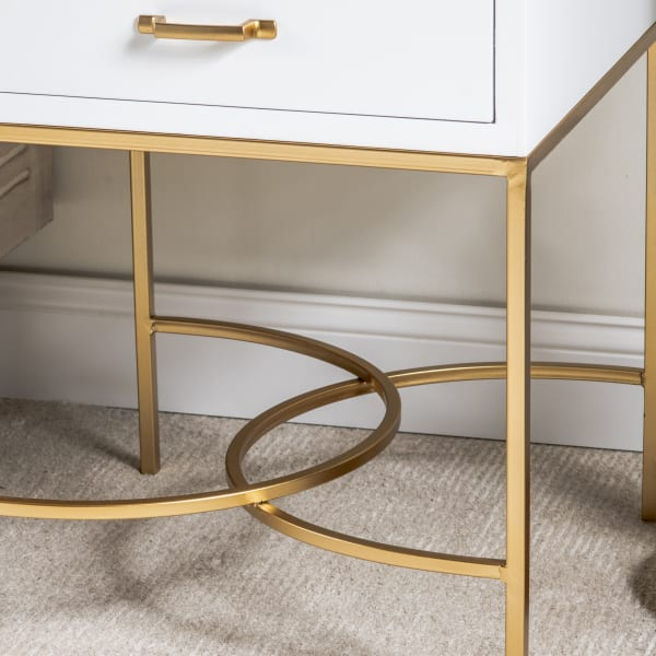 Mika 1-Drawer White End Table