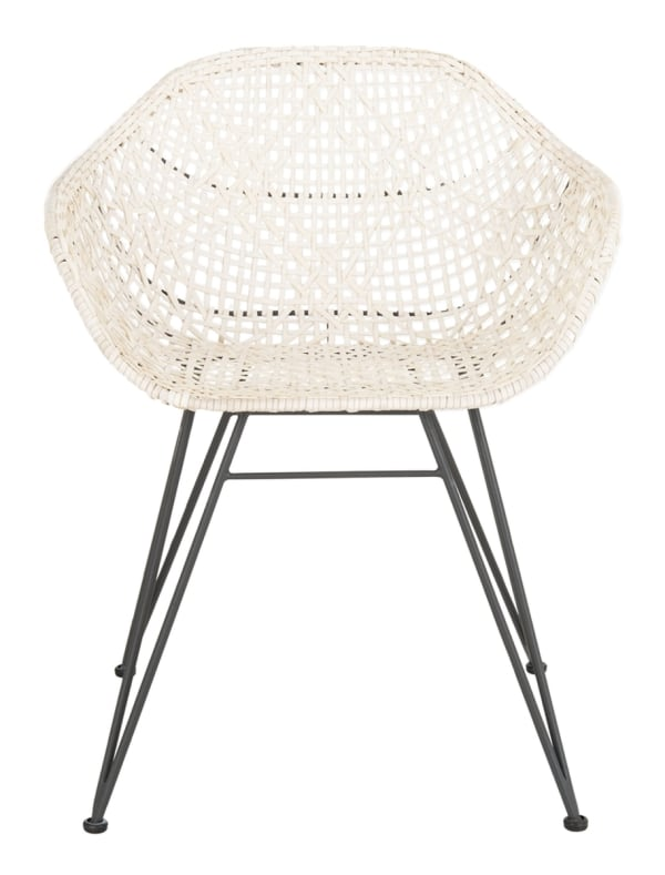 Alexis Leather Woven White Dining Chair  (Set Of 2)