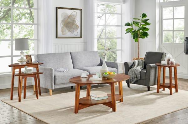 Monterey Oval Mid-Century Modern Wood Coffee Table