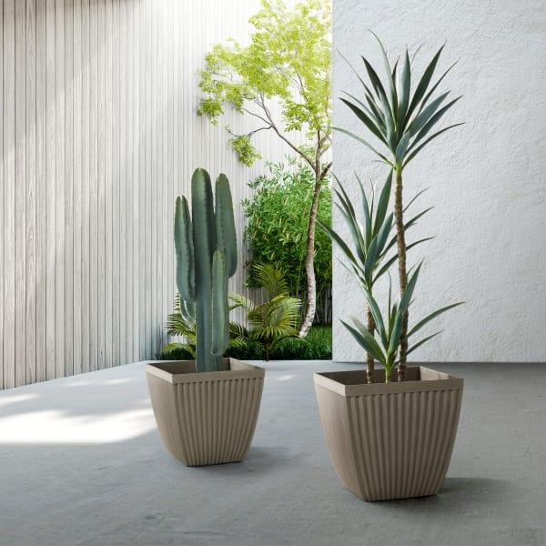 Evironmental Oversized Faux Concrete Square Plastic Fluted Pot Planter, Set of 2