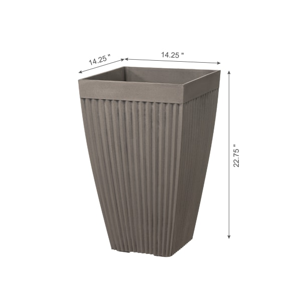 Evironmental Oversized Faux Concrete Tall Square Plastic Fluted Pot Planter, Set of 2