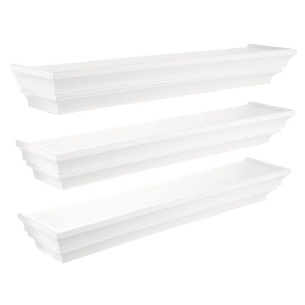 Modern White Wooden Set of 3 Floating Shelves