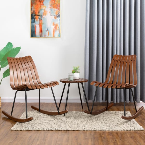 Bamboo Set of 2 Accent Rocking Chairs and Table