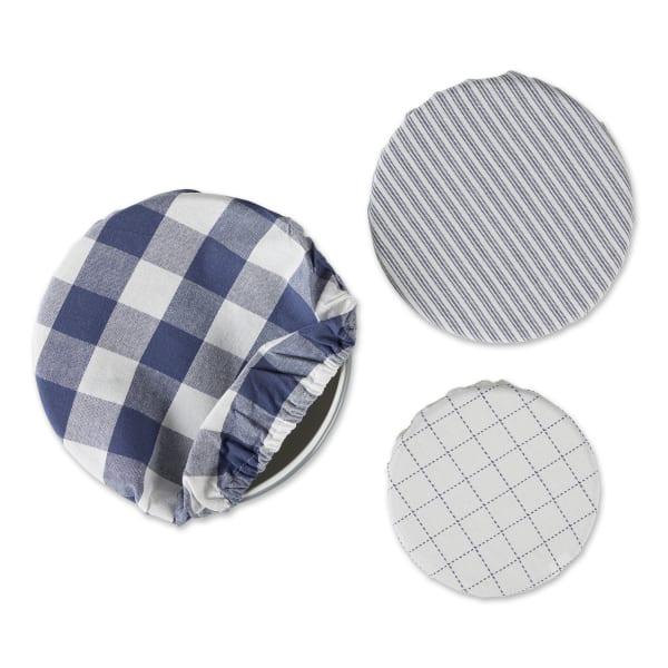 Blue Stone Buffalo Check Woven Set of 3 Dish Covers