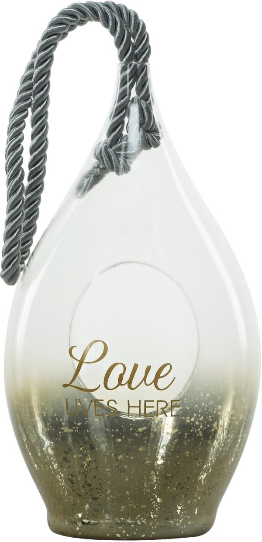 Love Gold Glass Lantern