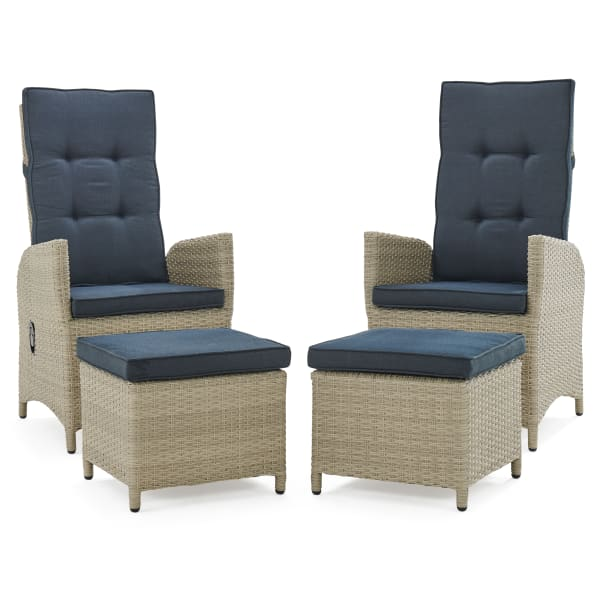 Haven All-Weather Wicker Outdoor Recliners with Ottomans and Cushions
