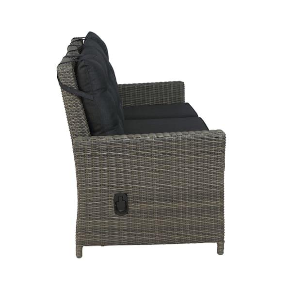 Asti All-Weather Wicker Three-Seat Reclining Sofa with Cushions