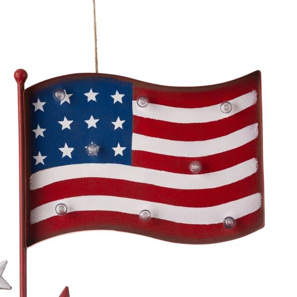 Metal American Flag with Solar Lights Yard Stake