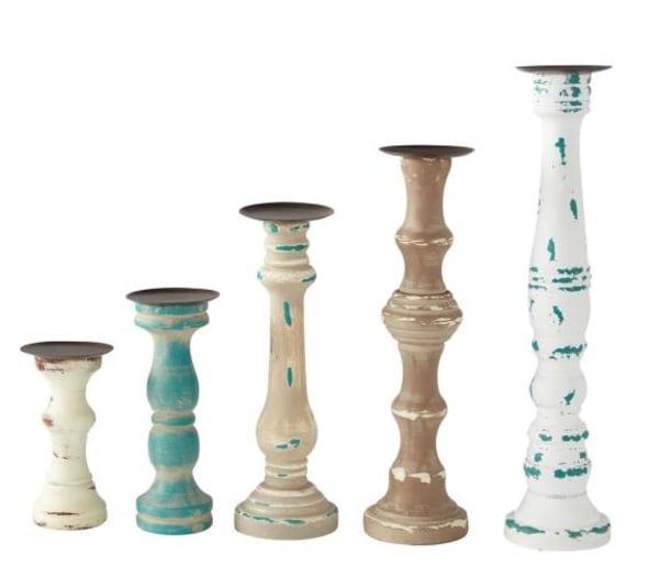 Wood Set of 5 Candle Sticks