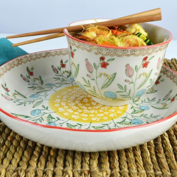 Ella Red Ramen Bowl and Dinner Bowl Set