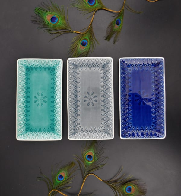Peacock Rectangular Platter - Gray