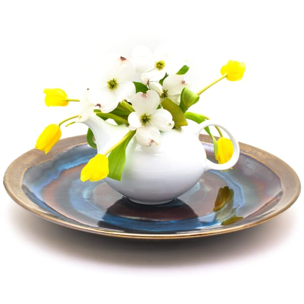 Blue Garden Small White Lotus Footed Bowl