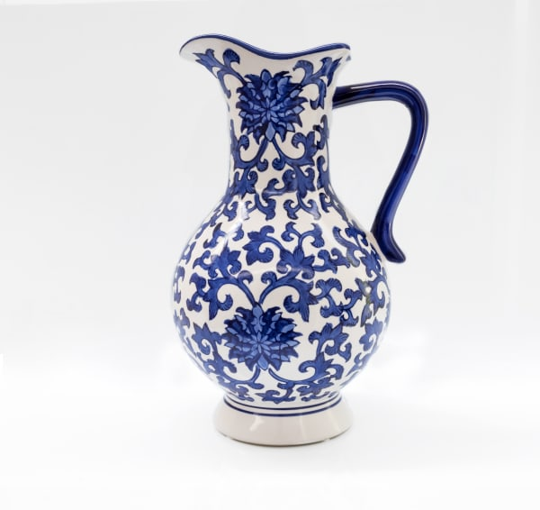 Blue Garden Peony Vase