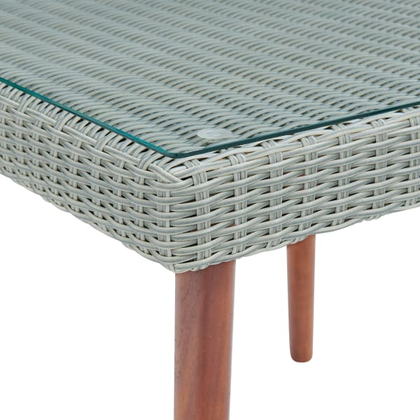 Albany All-Weather Wicker Outdoor Glass Top Square Cocktail Table
