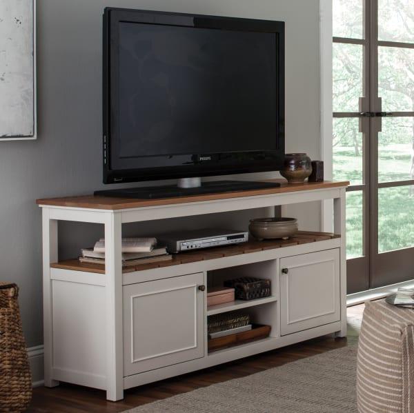 Savannah Natural Wood Top Ivory TV Cabinet