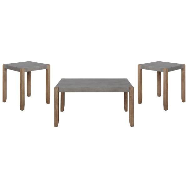 Newport Faux 3 Piece  Concrete and Wood Accent Table Set