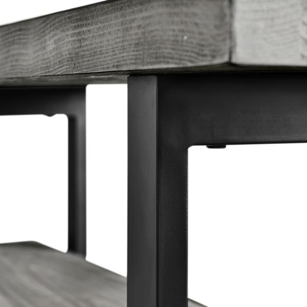 Pomona Slate Gray Metal and Wood Bench
