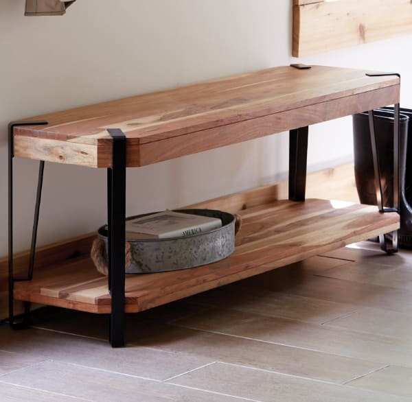 Ryegate Natural Live Edge Solid Wood with Metal 48