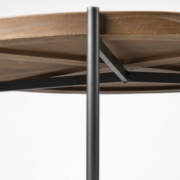 Kade Brown Metal Frame Two-Tier Round Coffee Table