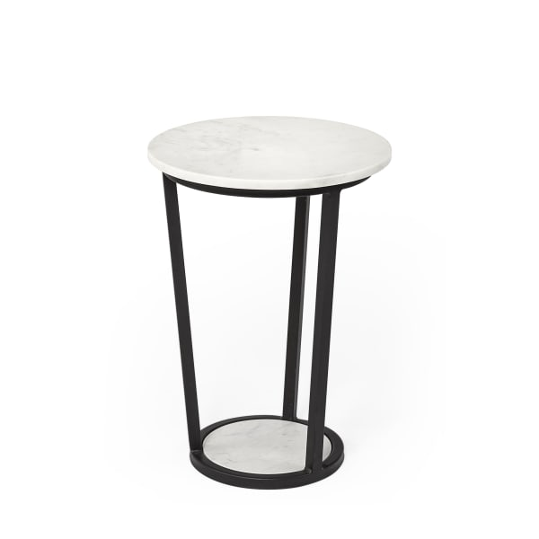 Bombola White Marble Top W/Black Metal Frame Round Accent Table