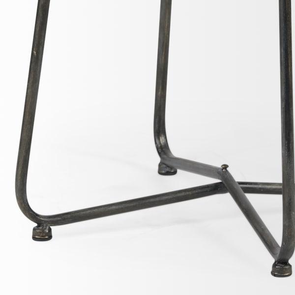 Julius II Brown Wood Top W/Black Metal Frame Round Accent Table