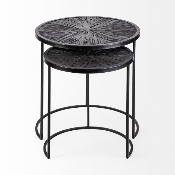 Chakra  Set of Two Dark Wood Top Black Frame  Round Accent Tables