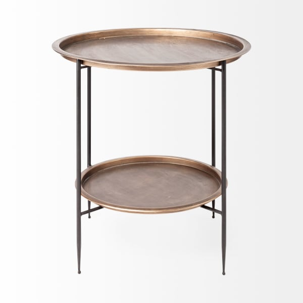 Dustin  Brown/Orange  Tray Top And Black Frame Round Accent Table
