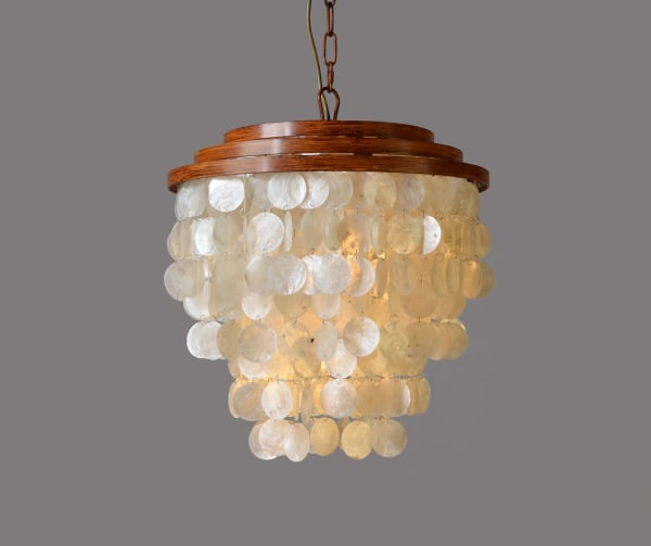 Daisey Capiz Shell and Wood Pendant Light