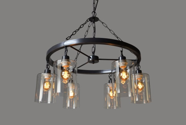 Mae Iron and Clear Glass Pendant Light