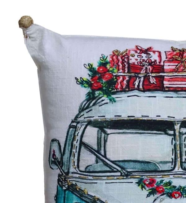 Hand Illustrated  Christmas Holiday Van Pillow