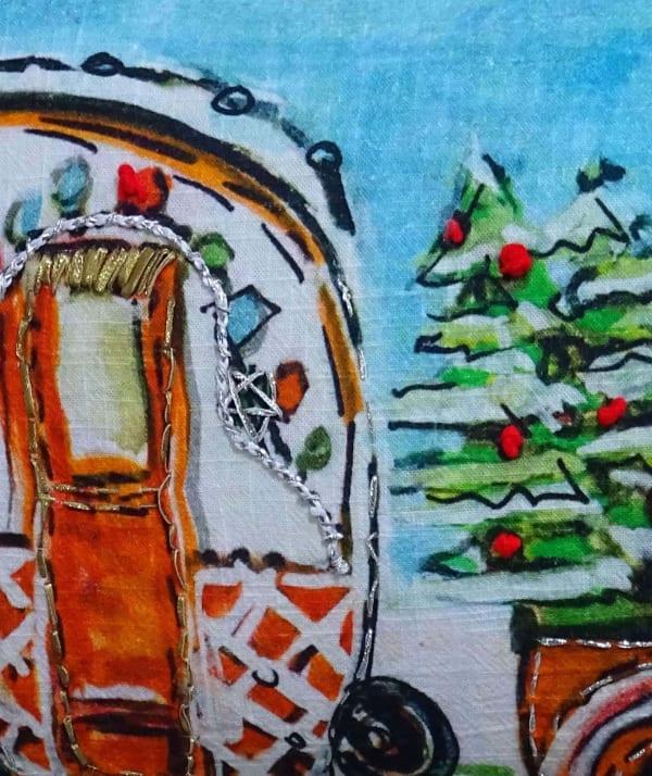 Hand Illustrated Christmas Cravan Holiday Pillow