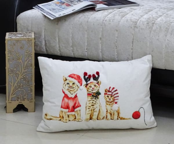 Cat Sisters Christmas Throw Pillow for couch