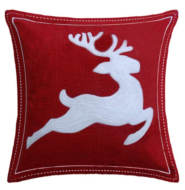 Red Christmas Throw Pillow-Reindeer