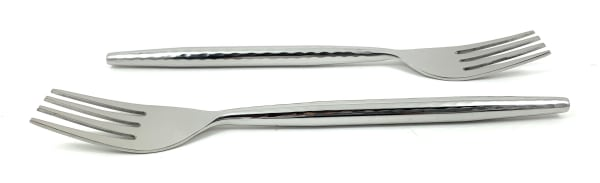 Hummered Stainless Steel Silver Glossy Set of 6 Salad Appetizer Forks
