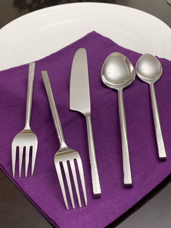 Hummared Silver 5 Piece Flatware Set