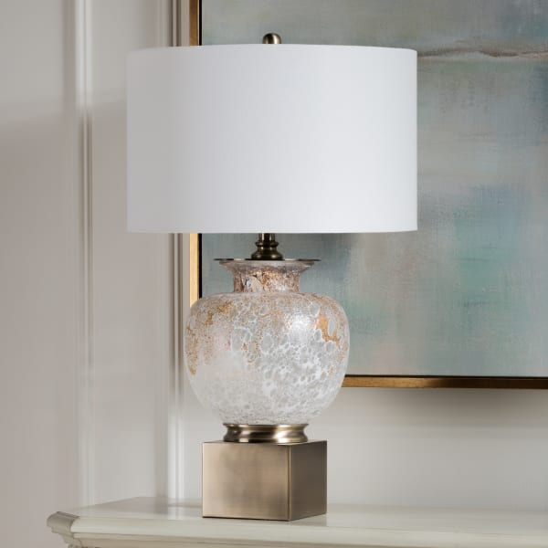 Atticus Opal with Nightlight Glass Table Lamp